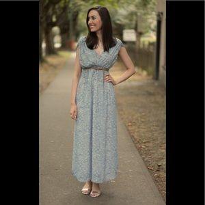 H&M blue flora paisley sheer lined boho maxi dress